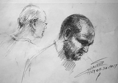 Cafes Drawing - Men At Cafe by Ylli Haruni