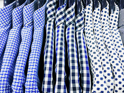 Clothes Clothing Photograph - Men's Shirts Hanging by Tom Gowanlock