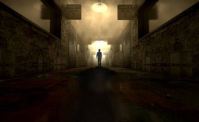 Eerie Digital Art - Mental Asylum With Ghostly Figure by Allan Swart