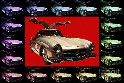 Mercedes 300sl Gullwing . Front Angle Artwork Art Print by Wingsdomain Art and Photography