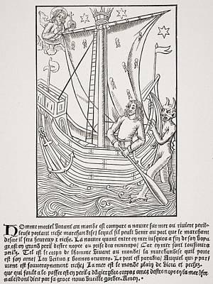Merchant Vessel In A Storm. Facsimile Art Print by Vintage Design Pics