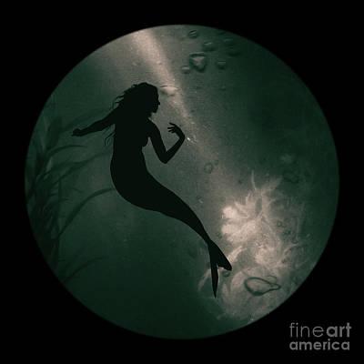 Mermaid Deep Underwater Art Print