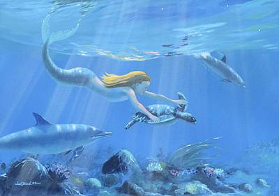 Painting - Mermaid Fantasy by Janet Biondi