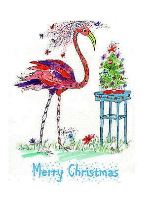 Painting - Flossie Flamingo's Christmas by Adele Bower