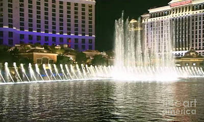 Mesmerizing Fountains Show Water Falls Casino Towers Las Vegas Ugly Picture Is High Use Of Water Ele Art Print