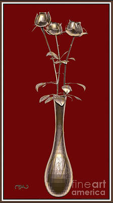 Metal Sculpture Of Roses 2 Original by Pemaro