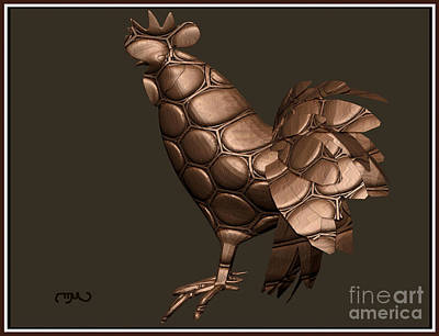 Stained Glass Rooster Digital Art - Metal Statuette Rooster  3msr by Pemaro