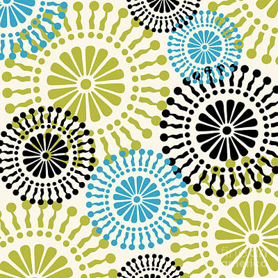 Retro Modern Painting - Metro Retro Circle Pattern 3 by Mindy Sommers