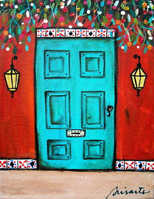 Mexican Town Painting - Mexican Door Painting by Pristine Cartera Turkus