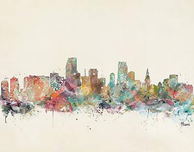Colourfull Painting - Miami City by Bleu Bri