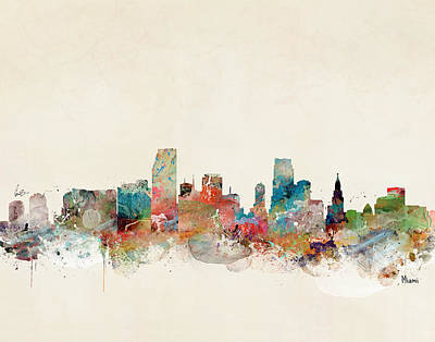 Painting - Miami Florida Skyline  by Bleu Bri