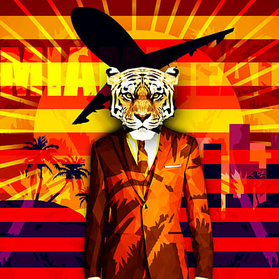 Miami Heat Tiger Art Print by Gallini Design