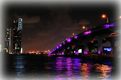 Photograph - Miami Skyline At Night 2 by Amanda Vouglas