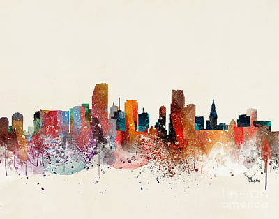 Miami Skyline Wall Art - Painting - Miami Skyline by Bleu Bri