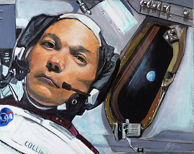 Nasa Painting - Michael Collins by Simon Kregar