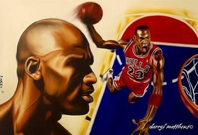 Art Print featuring the painting Michael Jordan by Darryl Matthews
