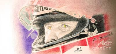 Benetton Wall Art - Drawing - Michael Schumacher's Next Victory by Lorenzo Benetton