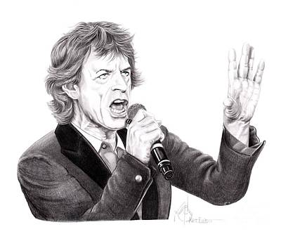 Rolling Stones Drawing - Mick Jagger by Murphy Elliott