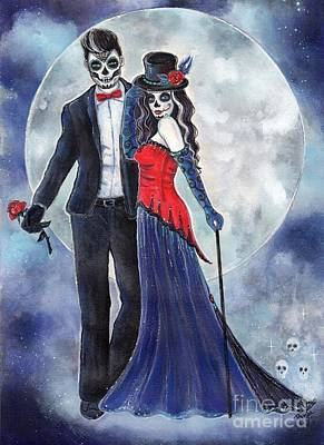 Painting - Midnight Rendezvous Day Of The Dead by Renee Lavoie