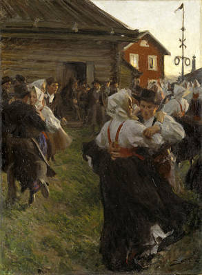 Anders Zorn Painting - Midsummer Dance by Anders Zorn