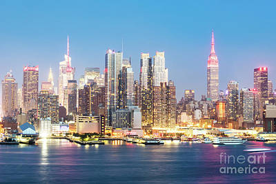 Photograph - Midtown Manhattan Skyline At Dusk, New York City, Usa by Matteo Colombo