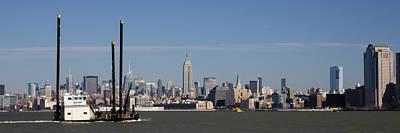 Hudson River Tugboat Photograph - Midtown Manhattan Skyline With Katherine G Tug by Erin Cadigan