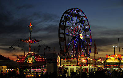 Florida State Fair Photograph - Midway Night by David Lee Thompson