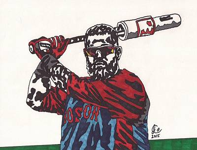 Mlb Boston Red Sox Drawing - Mike Napoli 2 by Jeremiah Colley