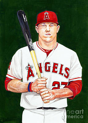 Baseball Art Drawing - Mike Trout by Dave Olsen