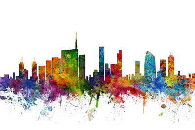 Italian Digital Art - Milan Italy Skyline by Michael Tompsett