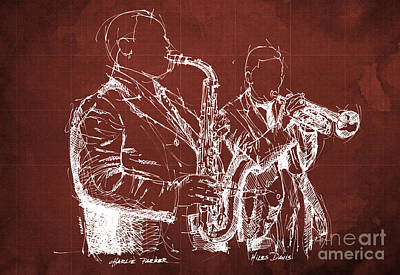 Musico Drawing - Miles Davis And Charlie Parker On Stage, Original Sketch by Pablo Franchi