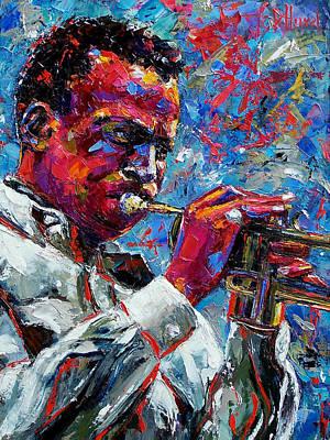 Trumpet Painting - Miles Davis by Debra Hurd
