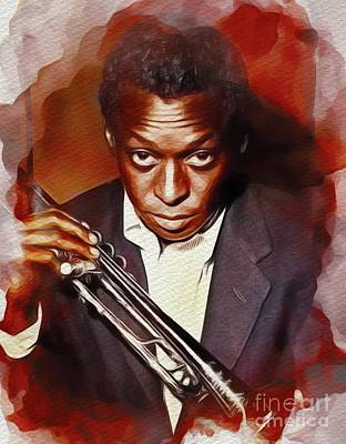 Jazz Royalty Free Images - Miles Davis, Music Legend Royalty-Free Image by John Springfield