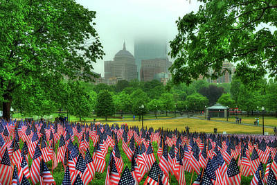Military Heroes Garden Of Flags - Boston Common Art Print by Joann Vitali