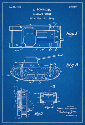 Reynolds Digital Art - Military Tanks - Patent Drawing For The 1952 Military Tanks By L. Schindel by Jose Elias - Sofia Pereira