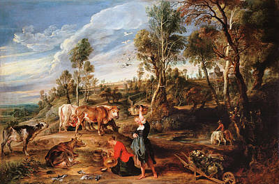 Agricultural Painting - Milkmaids With Cattle In A Landscape, 'the Farm At Laken' by Peter Paul Rubens
