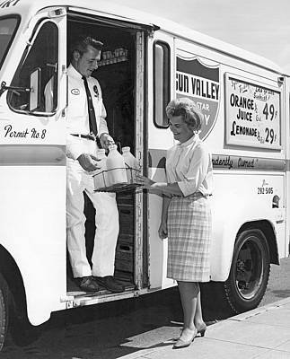 Milkman Home Delivery Art Print by Underwood Archives