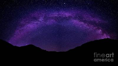 Print featuring the photograph milky way above the Alps by Hannes Cmarits