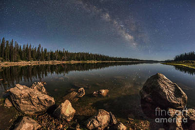 Photograph - Milky Way And Moonlight Over Lost Lake by Spencer Baugh