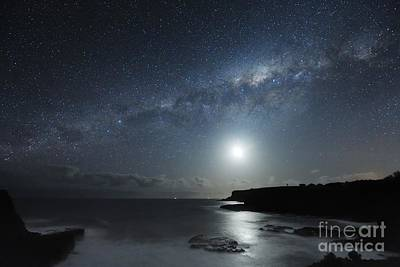 Moonlit Night Photograph - Milky Way Over Mornington Peninsula by Alex Cherney, Terrastro
