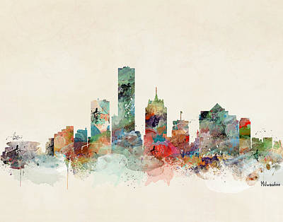 Painting - Milwaukee Wisconsin Skyline by Bleu Bri