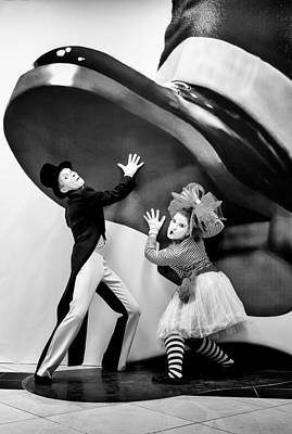 Photograph - Mime Artists Giant Hand Illusion Colour by John Williams