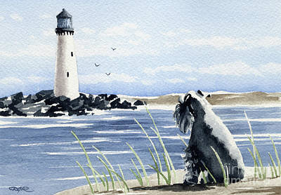 Mini Schnauzer Painting - Miniature Schnauzer At The Beach by David Rogers