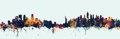 Digital Art - Minneapolis And New York Skylines Mashup by Michael Tompsett