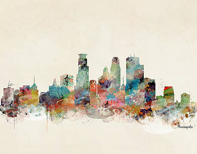 Painting - Minneapolis Minnesota Skyline by Bleu Bri