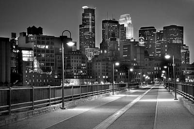 Bw Photograph - Minneapolis Skyline From Stone Arch Bridge by Jon Holiday
