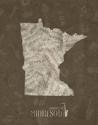 Jazz Royalty Free Images - Minnesota Map Music Notes 2 Royalty-Free Image by Bekim M