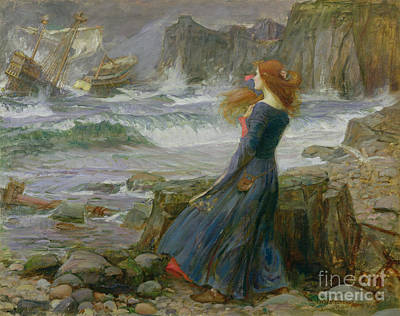 Shore Painting - Miranda by John William Waterhouse