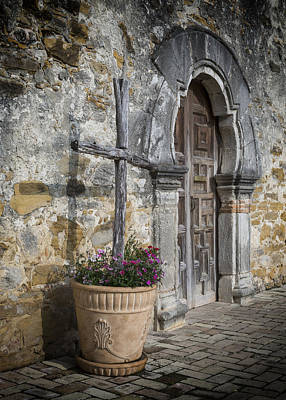 Flower Planter Photograph - Mission Espada Cross by Stephen Stookey