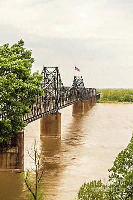 Mississippi River Bridge - Vicksburg Ms Digital Painting Art Print